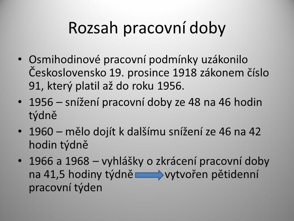 Rozsah pracovní doby • Osmihodinové pracovní podmínky uzákonilo Československo 19. prosince 1918 zákonem číslo 91, který platil až do roku 1956. • 195