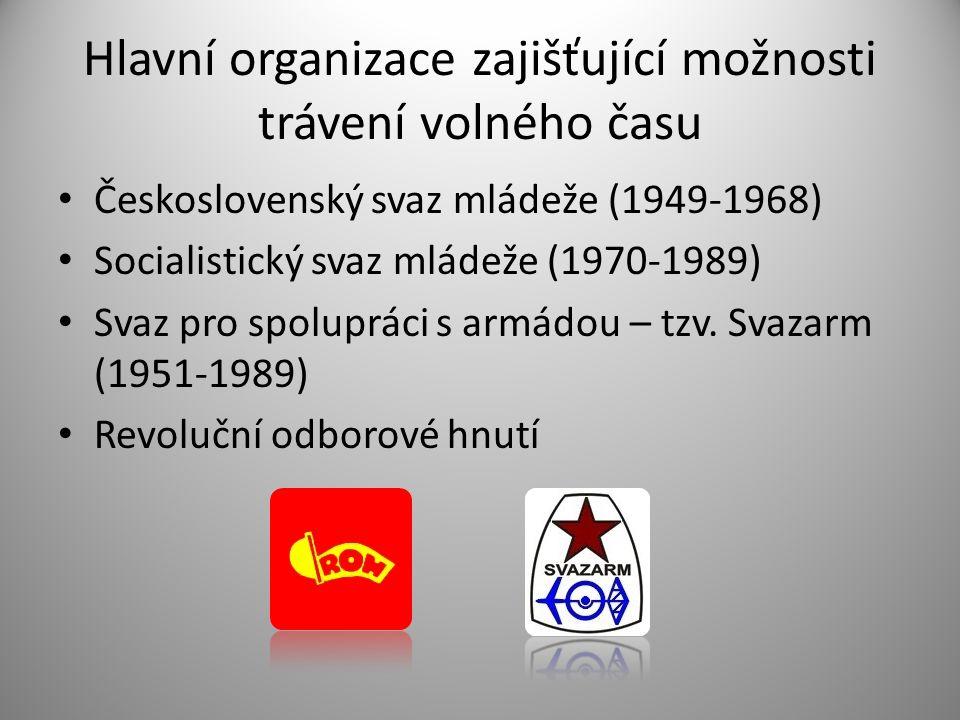 Hlavní organizace zajišťující možnosti trávení volného času • Československý svaz mládeže (1949-1968) • Socialistický svaz mládeže (1970-1989) • Svaz