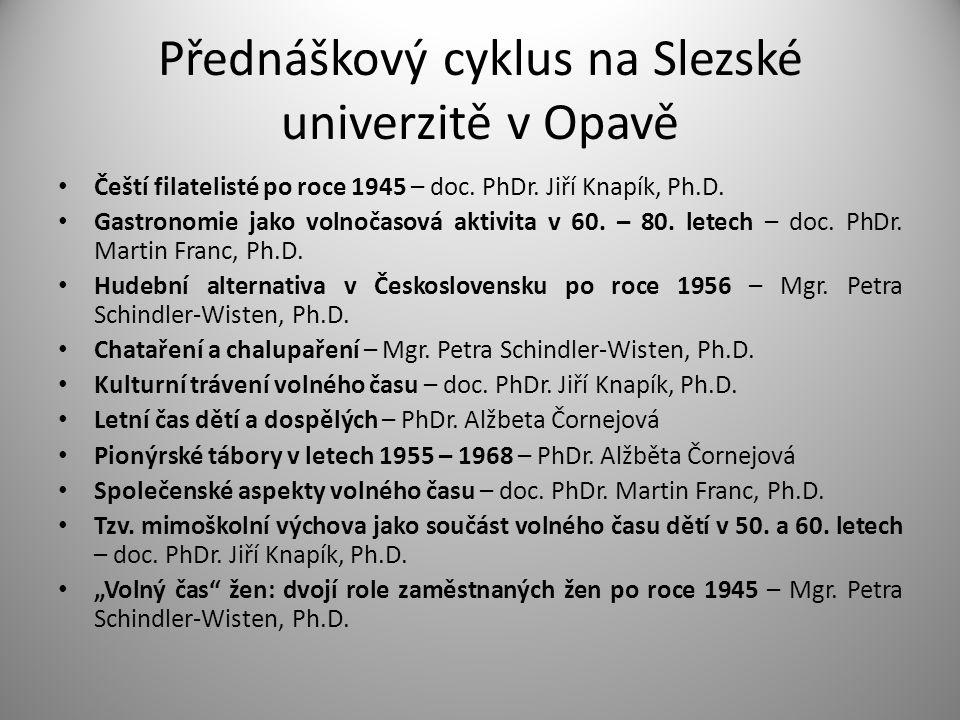 Přednáškový cyklus na Slezské univerzitě v Opavě • Čeští filatelisté po roce 1945 – doc. PhDr. Jiří Knapík, Ph.D. • Gastronomie jako volnočasová aktiv