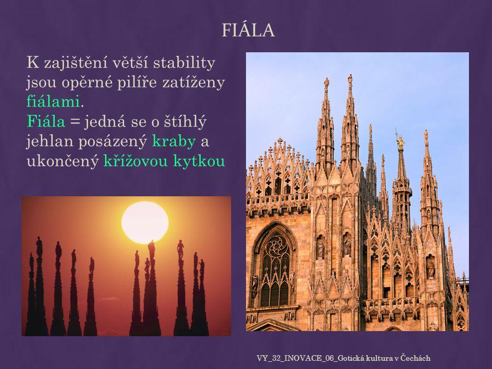 FIÁLA K zajištění větší stability jsou opěrné pilíře zatíženy fiálami. Fiála = jedná se o štíhlý jehlan posázený kraby a ukončený křížovou kytkou VY_3