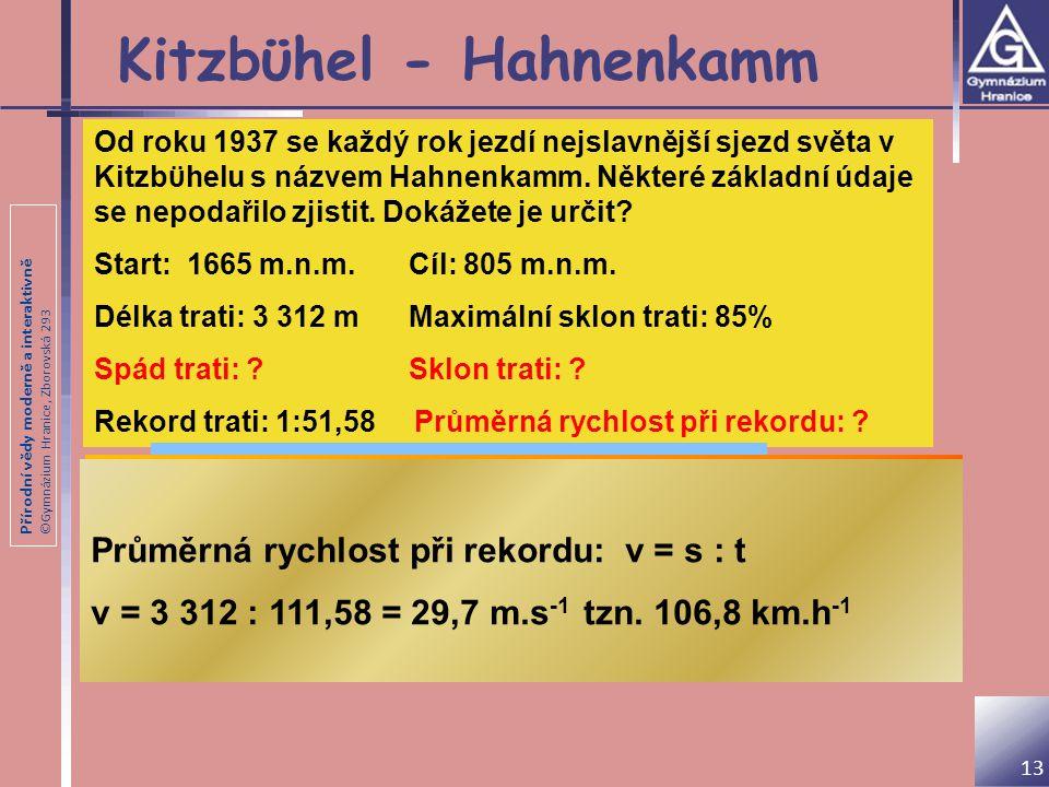 Přírodní vědy moderně a interaktivně ©Gymnázium Hranice, Zborovská 293 Kitzbϋhel - Hahnenkamm Od roku 1937 se každý rok jezdí nejslavnější sjezd světa