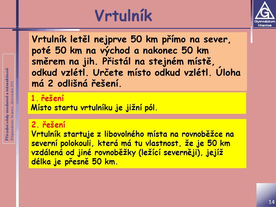 Přírodní vědy moderně a interaktivně ©Gymnázium Hranice, Zborovská 293 Vrtulník Vrtulník letěl nejprve 50 km přímo na sever, poté 50 km na východ a na