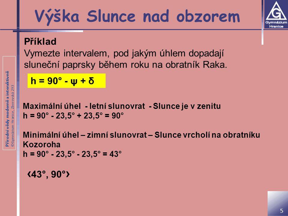 Přírodní vědy moderně a interaktivně ©Gymnázium Hranice, Zborovská 293 Výška Slunce nad obzorem 5 Příklad Vymezte intervalem, pod jakým úhlem dopadají