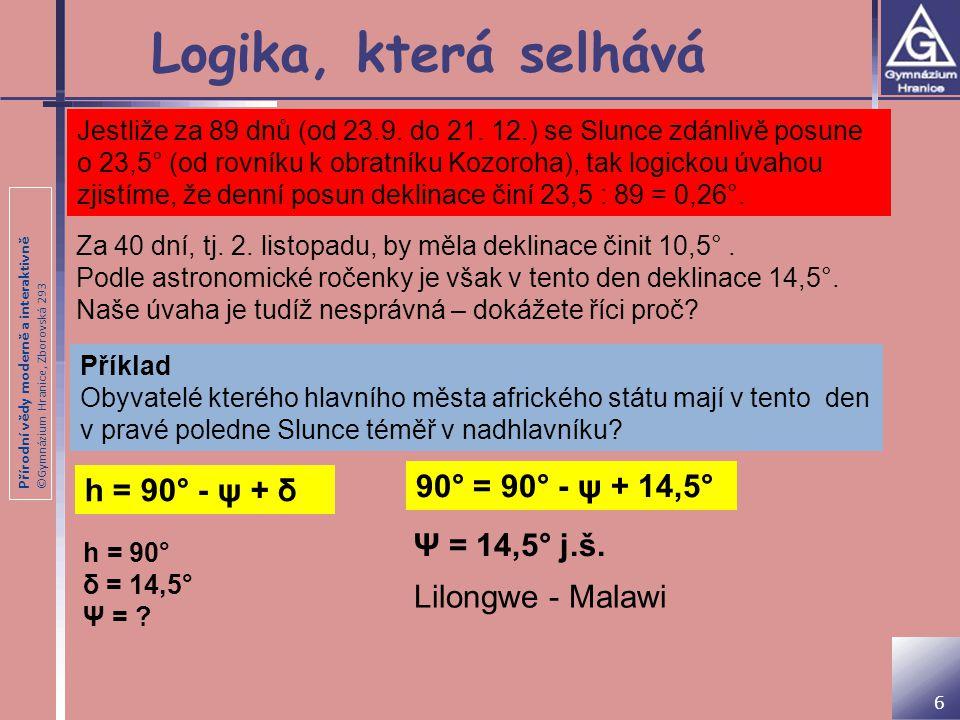 Přírodní vědy moderně a interaktivně ©Gymnázium Hranice, Zborovská 293 Logika, která selhává 6 Jestliže za 89 dnů (od 23.9. do 21. 12.) se Slunce zdán