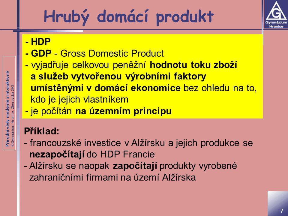 Přírodní vědy moderně a interaktivně ©Gymnázium Hranice, Zborovská 293 Hrubý domácí produkt - HDP - GDP - Gross Domestic Product - vyjadřuje celkovou