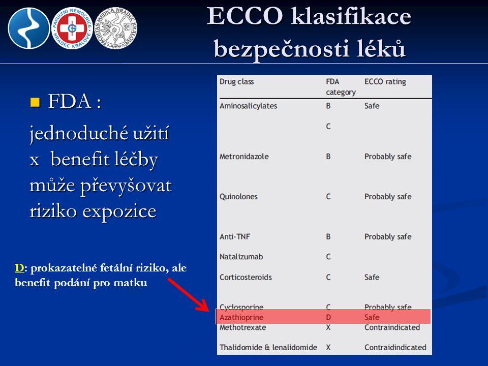 ECCO klasifikace bezpečnosti léků  FDA : jednoduché užití x benefit léčby může převyšovat riziko expozice D: prokazatelné fetální riziko, ale benefit
