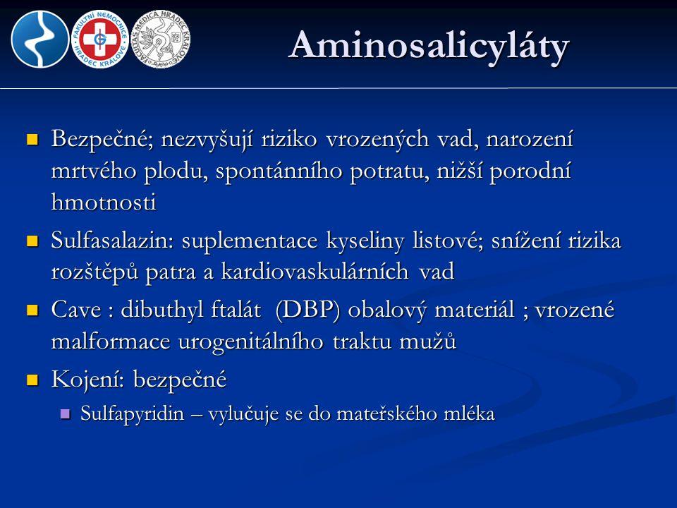 Aminosalicyláty  Bezpečné; nezvyšují riziko vrozených vad, narození mrtvého plodu, spontánního potratu, nižší porodní hmotnosti  Sulfasalazin: suple
