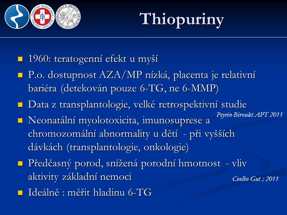 Thiopuriny  1960: teratogenní efekt u myší  P.o. dostupnost AZA/MP nízká, placenta je relativní bariéra (detekován pouze 6-TG, ne 6-MMP)  Data z tr
