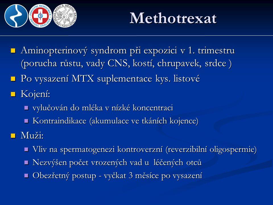 Methotrexat  Aminopterinový syndrom při expozici v 1. trimestru (porucha růstu, vady CNS, kostí, chrupavek, srdce )  Po vysazení MTX suplementace ky
