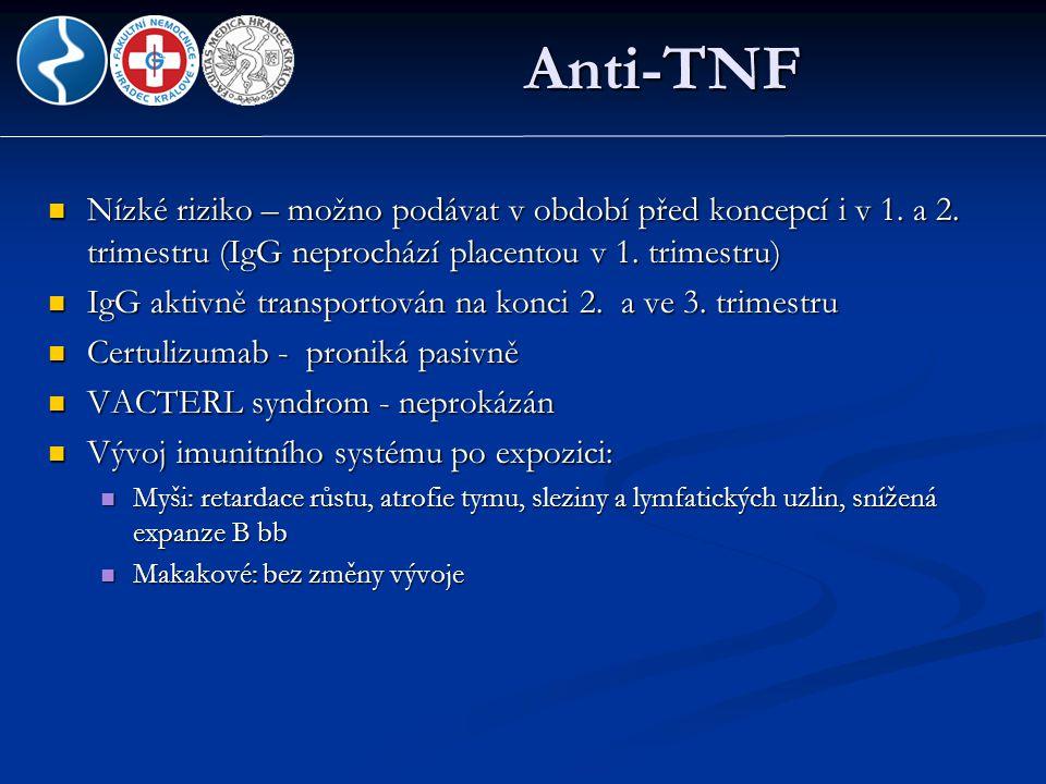 Anti-TNF  Nízké riziko – možno podávat v období před koncepcí i v 1. a 2. trimestru (IgG neprochází placentou v 1. trimestru)  IgG aktivně transport