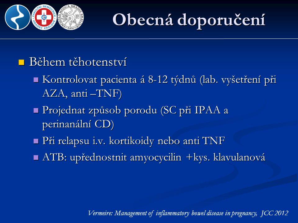 Obecná doporučení  Během těhotenství  Kontrolovat pacienta á 8-12 týdnů (lab. vyšetření při AZA, anti –TNF)  Projednat způsob porodu (SC při IPAA a