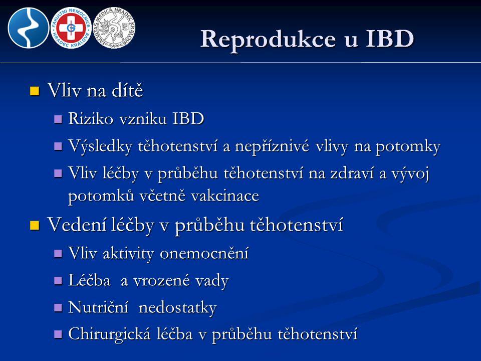 Aminosalicyláty  Bezpečné; nezvyšují riziko vrozených vad, narození mrtvého plodu, spontánního potratu, nižší porodní hmotnosti  Sulfasalazin: suplementace kyseliny listové; snížení rizika rozštěpů patra a kardiovaskulárních vad  Cave : dibuthyl ftalát (DBP) obalový materiál ; vrozené malformace urogenitálního traktu mužů  Kojení: bezpečné  Sulfapyridin – vylučuje se do mateřského mléka