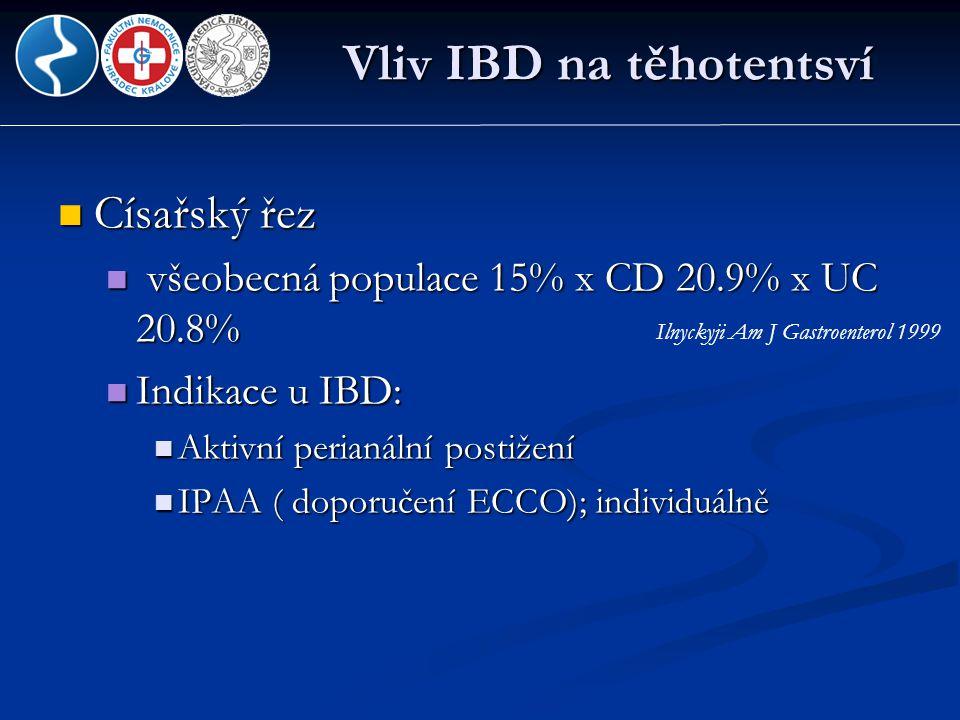 Vliv IBD na těhotentsví  Císařský řez  všeobecná populace 15% x CD 20.9% x UC 20.8%  Indikace u IBD:  Aktivní perianální postižení  IPAA ( doporu