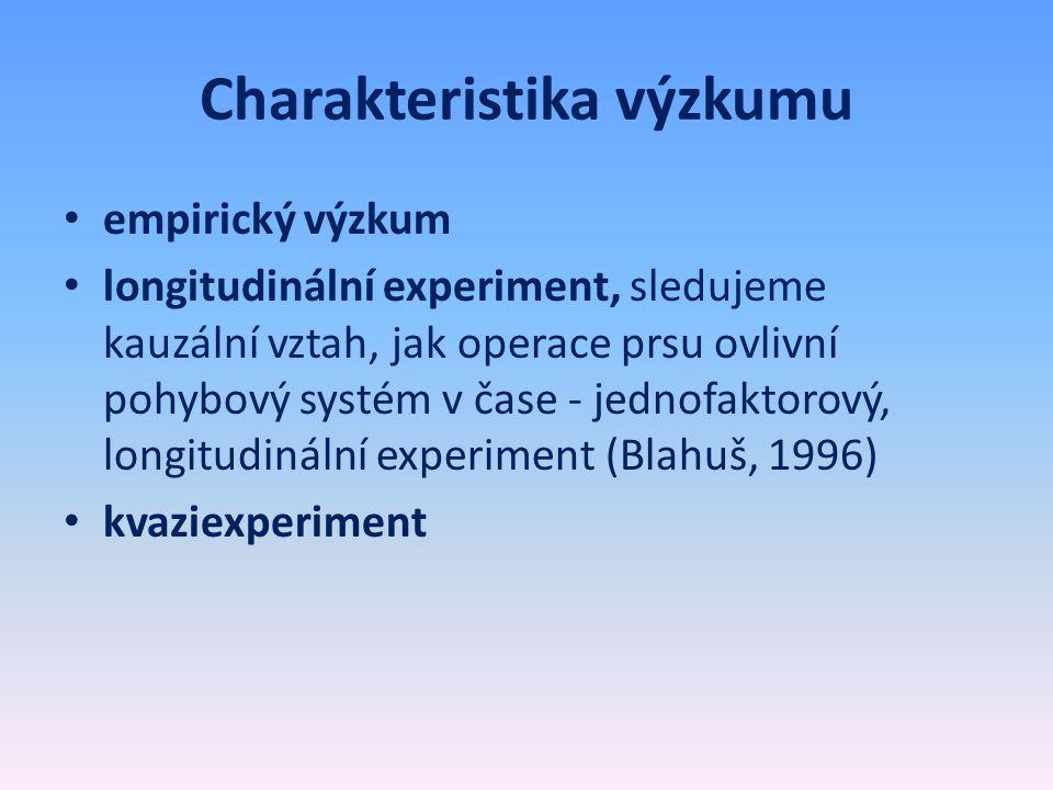 Charakteristika výzkumu • empirický výzkum • longitudinální experiment, sledujeme kauzální vztah, jak operace prsu ovlivní pohybový systém v čase - je