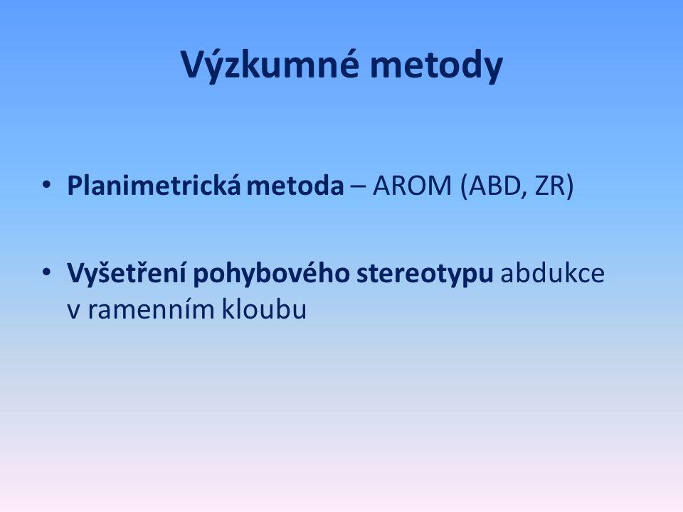 Výzkumné metody • Planimetrická metoda – AROM (ABD, ZR) • Vyšetření pohybového stereotypu abdukce v ramenním kloubu