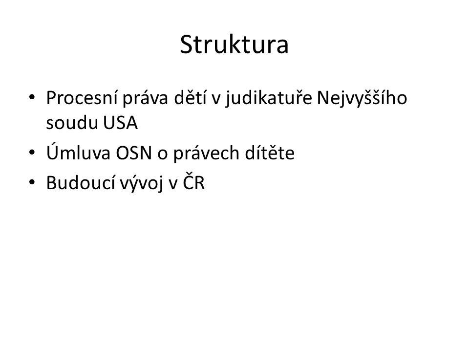 Struktura • Procesní práva dětí v judikatuře Nejvyššího soudu USA • Úmluva OSN o právech dítěte • Budoucí vývoj v ČR