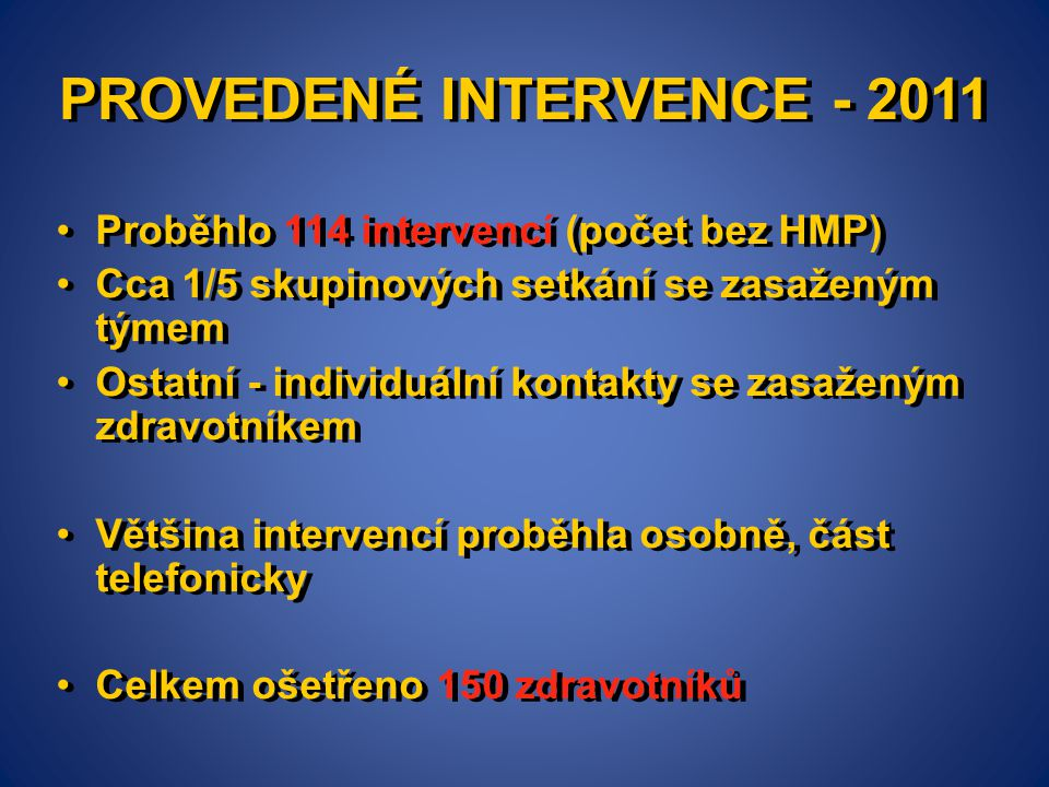 PROVEDENÉ INTERVENCE - 2011 •Proběhlo 114 intervencí (počet bez HMP) •Cca 1/5 skupinových setkání se zasaženým týmem •Ostatní - individuální kontakty