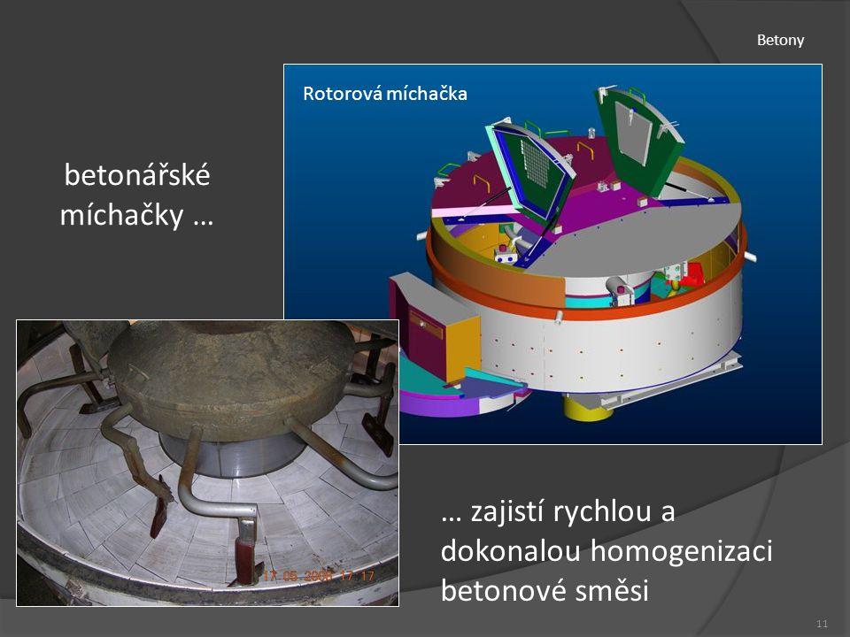 Betony 11 Rotorová míchačka betonářské míchačky … … zajistí rychlou a dokonalou homogenizaci betonové směsi