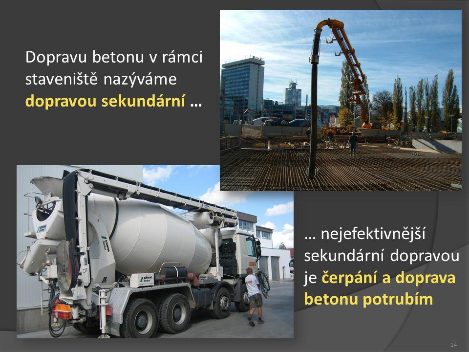 Betony 14 Dopravu betonu v rámci staveniště nazýváme dopravou sekundární … … nejefektivnější sekundární dopravou je čerpání a doprava betonu potrubím