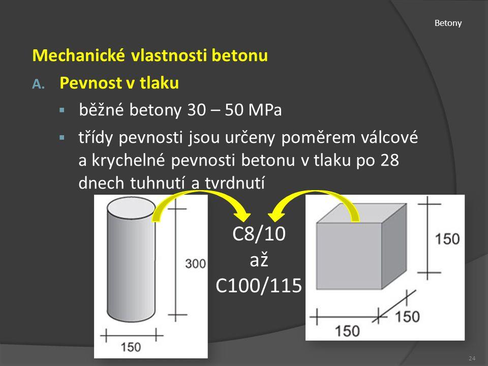 Betony Mechanické vlastnosti betonu A. Pevnost v tlaku  běžné betony 30 – 50 MPa  třídy pevnosti jsou určeny poměrem válcové a krychelné pevnosti be