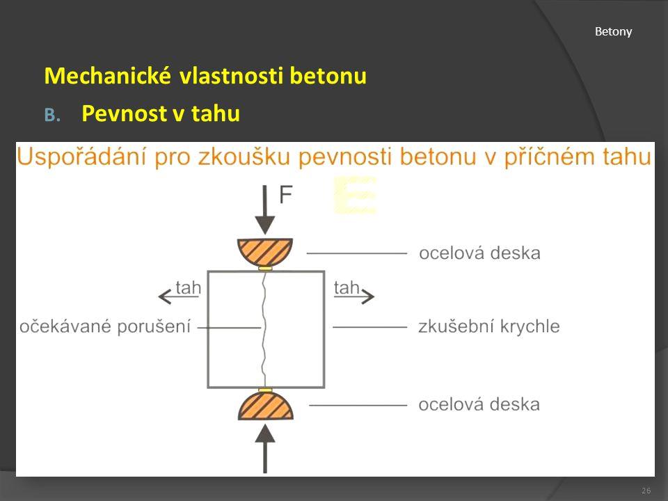 Betony Mechanické vlastnosti betonu B. Pevnost v tahu 26
