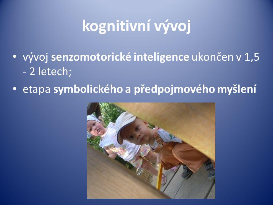 kognitivní vývoj • vývoj senzomotorické inteligence ukončen v 1,5 - 2 letech; • etapa symbolického a předpojmového myšlení