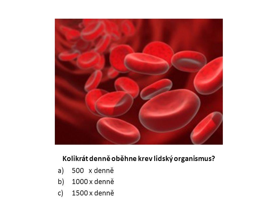Kolikrát denně oběhne krev lidský organismus? a)500 x denně b)1000 x denně c)1500 x denně