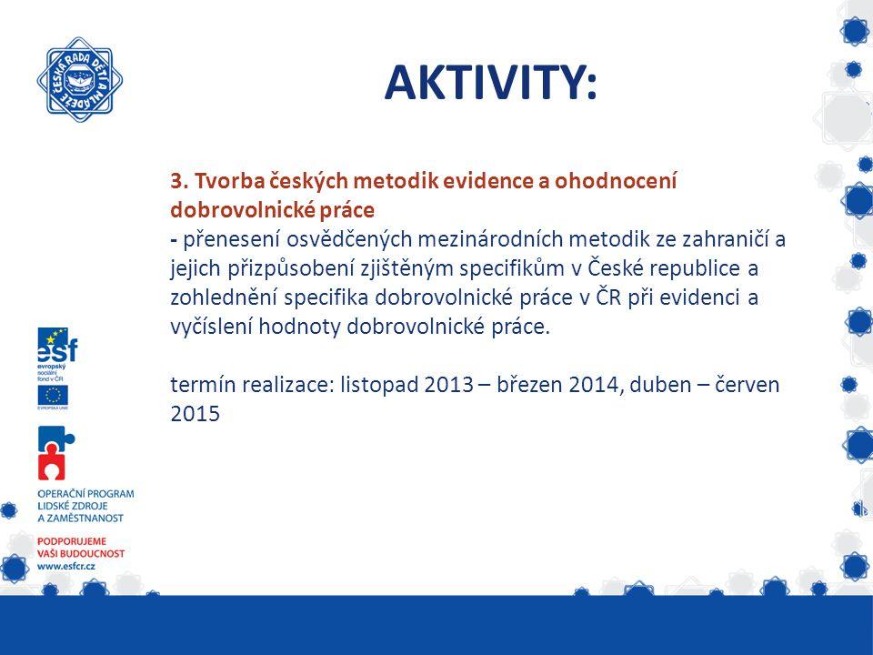 3. Tvorba českých metodik evidence a ohodnocení dobrovolnické práce - přenesení osvědčených mezinárodních metodik ze zahraničí a jejich přizpůsobení z