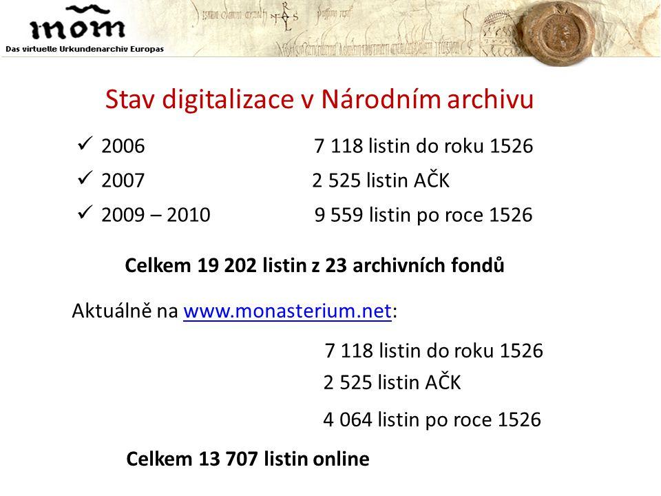 Stav digitalizace v Národním archivu  2006 7 118 listin do roku 1526  2007 2 525 listin AČK  2009 – 2010 9 559 listin po roce 1526 Aktuálně na www.