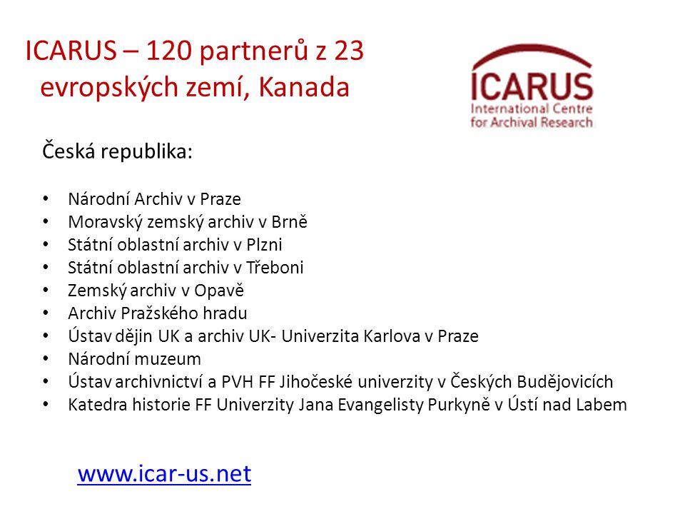 ICARUS – 120 partnerů z 23 evropských zemí, Kanada Česká republika: • Národní Archiv v Praze • Moravský zemský archiv v Brně • Státní oblastní archiv