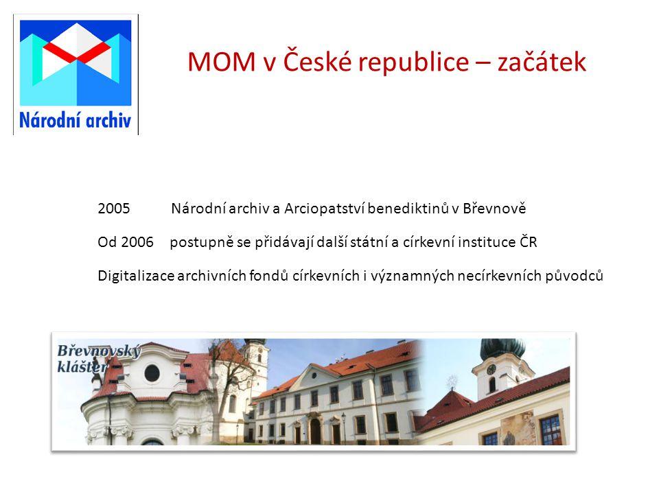 MOM v České republice – začátek 2005 Národní archiv a Arciopatství benediktinů v Břevnově Od 2006 postupně se přidávají další státní a církevní instit