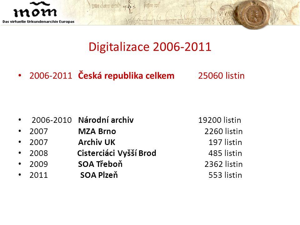 Digitalizace 2006-2011 • 2006-2011Česká republika celkem25060 listin • 2006-2010Národní archiv 19200 listin • 2007MZA Brno 2260 listin • 2007Archiv UK