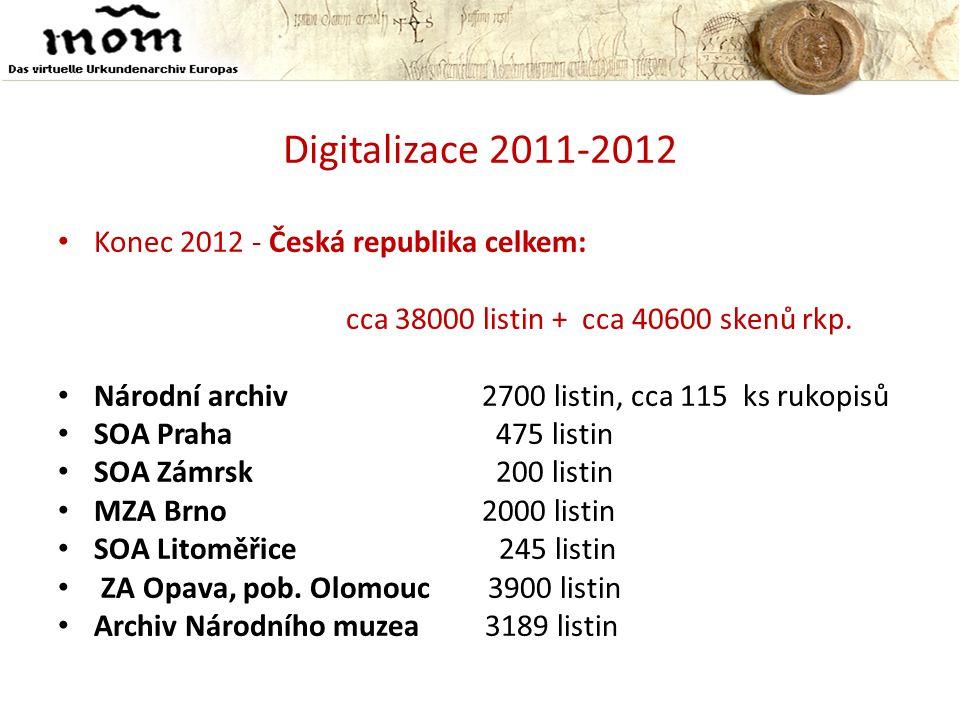 Digitalizace 2011-2012 • Konec 2012 - Česká republika celkem: cca 38000 listin + cca 40600 skenů rkp. • Národní archiv 2700 listin, cca 115 ks rukopis