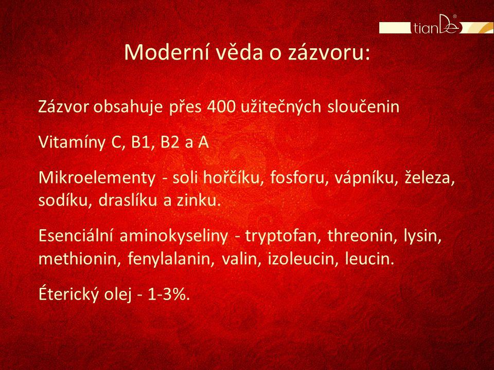 Moderní věda o zázvoru: Zázvor obsahuje přes 400 užitečných sloučenin Vitamíny C, B1, B2 a A Mikroelementy - soli hořčíku, fosforu, vápníku, železa, s