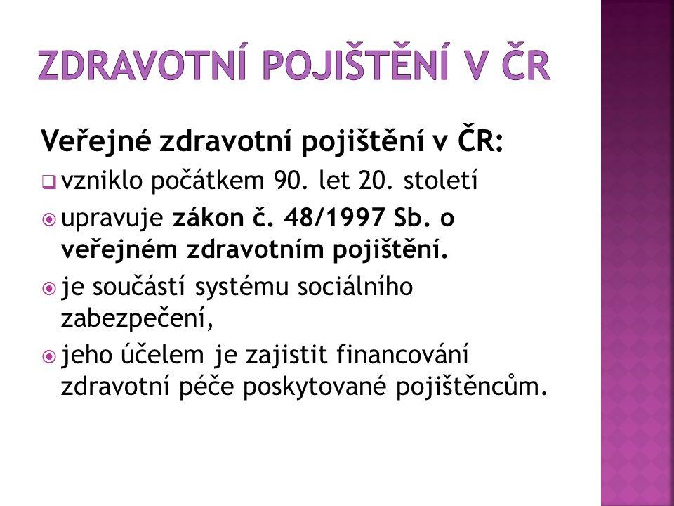 Veřejné zdravotní pojištění v ČR:  vzniklo počátkem 90. let 20. století  upravuje zákon č. 48/1997 Sb. o veřejném zdravotním pojištění.  je součást