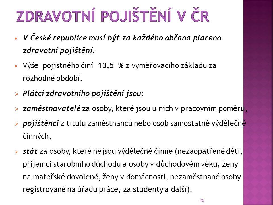 26  V České republice musí být za každého občana placeno zdravotní pojištění.  Výše pojistného činí 13,5 % z vyměřovacího základu za rozhodné období