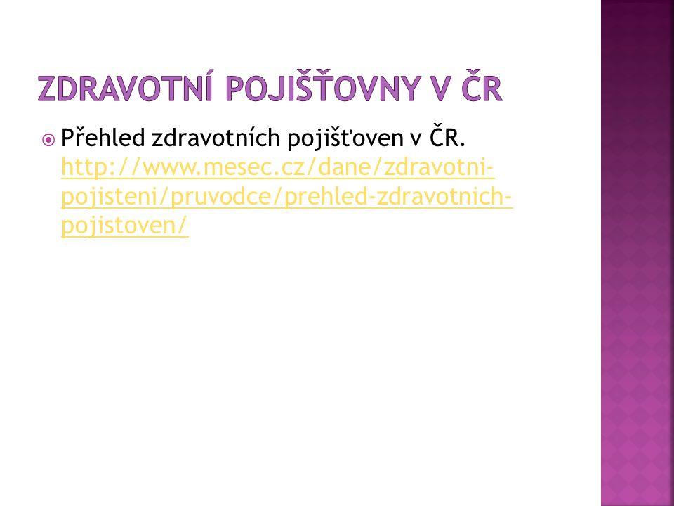  Přehled zdravotních pojišťoven v ČR. http://www.mesec.cz/dane/zdravotni- pojisteni/pruvodce/prehled-zdravotnich- pojistoven/ http://www.mesec.cz/dan