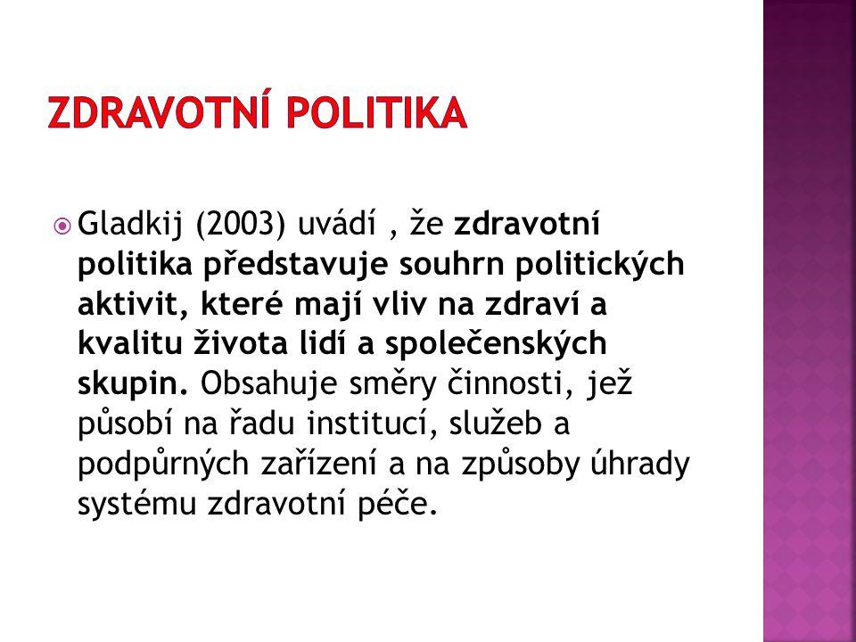  Gladkij (2003) uvádí, že zdravotní politika představuje souhrn politických aktivit, které mají vliv na zdraví a kvalitu života lidí a společenských