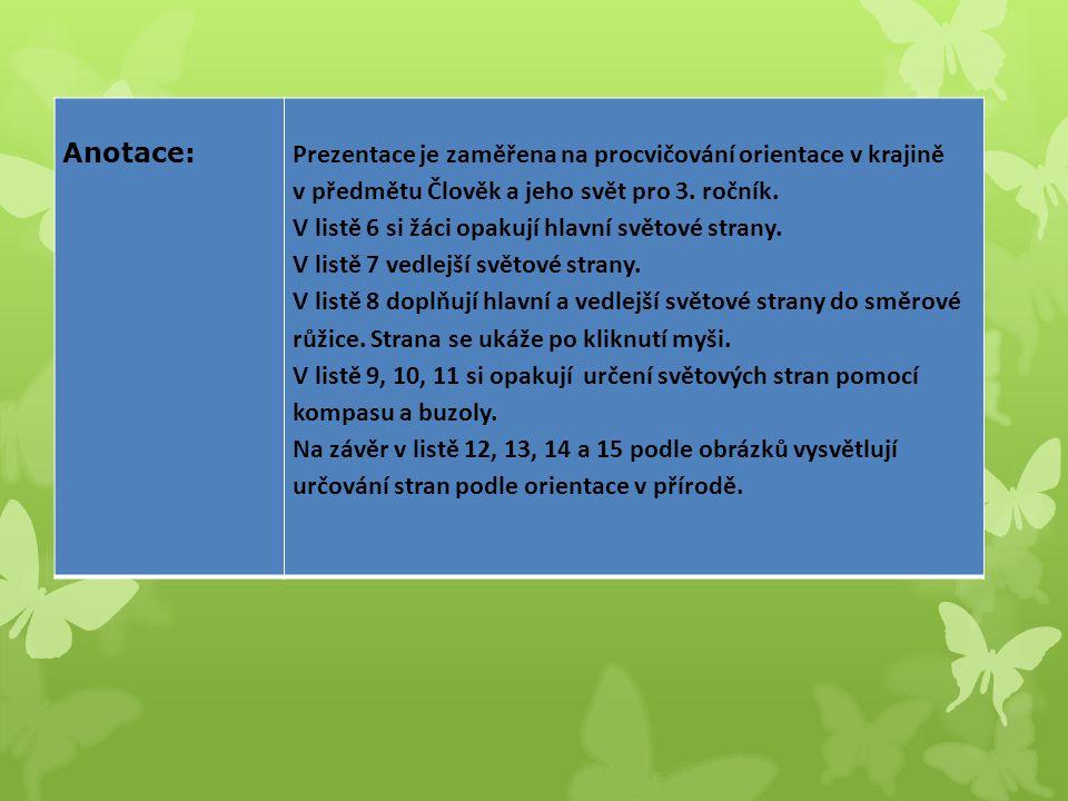 Anotace:Prezentace je zaměřena na procvičování orientace v krajině v předmětu Člověk a jeho svět pro 3.