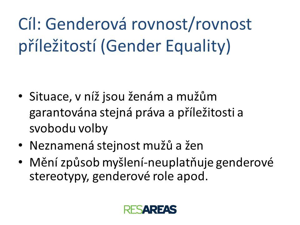 Cíl: Genderová rovnost/rovnost příležitostí (Gender Equality) • Situace, v níž jsou ženám a mužům garantována stejná práva a příležitosti a svobodu vo