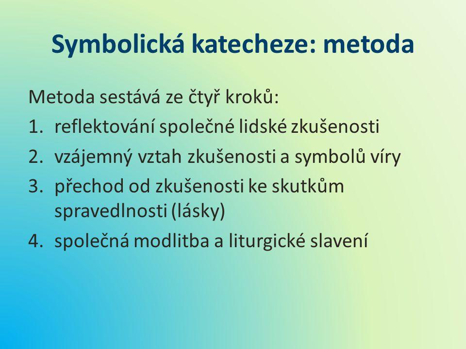 Symbolická katecheze: metoda Metoda sestává ze čtyř kroků: 1.reflektování společné lidské zkušenosti 2.vzájemný vztah zkušenosti a symbolů víry 3.přec