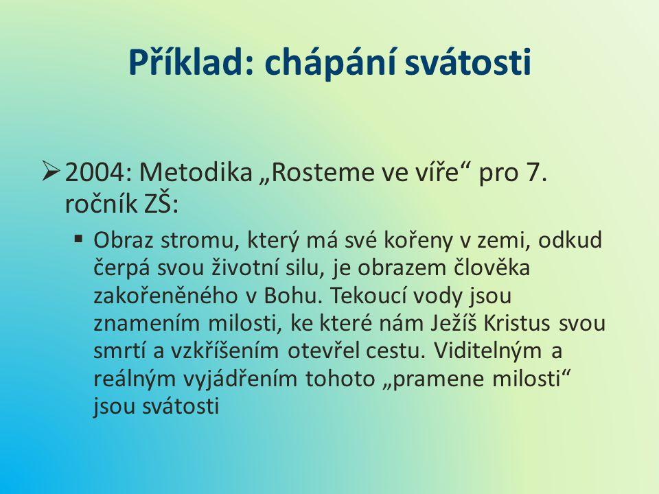 """Příklad: chápání svátosti  2004: Metodika """"Rosteme ve víře"""" pro 7. ročník ZŠ:  Obraz stromu, který má své kořeny v zemi, odkud čerpá svou životní si"""