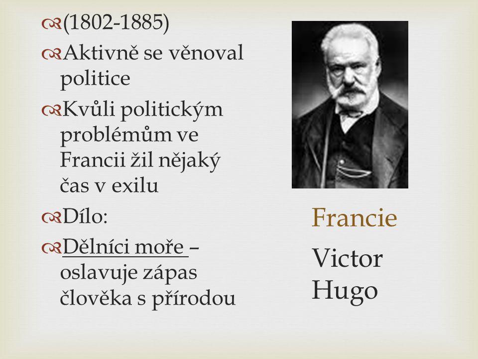 Francie  (1802-1885)  Aktivně se věnoval politice  Kvůli politickým problémům ve Francii žil nějaký čas v exilu  Dílo:  Dělníci moře – oslavuje z