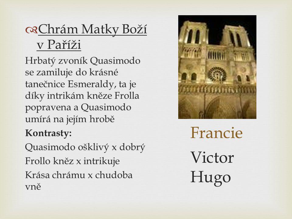 Francie  Chrám Matky Boží v Paříži Hrbatý zvoník Quasimodo se zamiluje do krásné tanečnice Esmeraldy, ta je díky intrikám kněze Frolla popravena a Qu