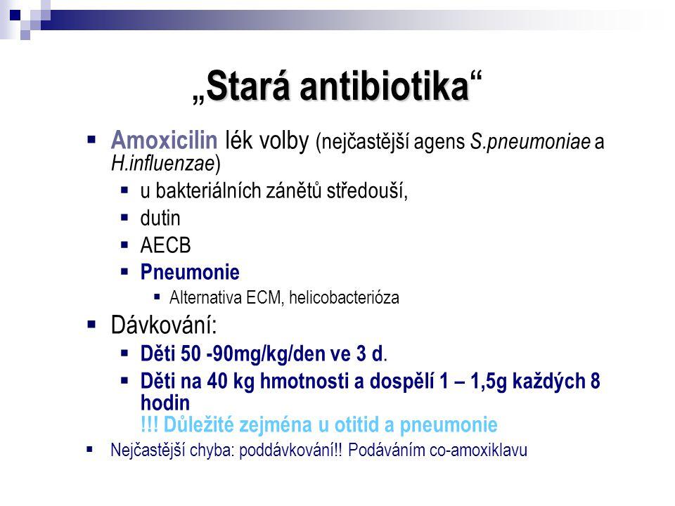 """Stará antibiotika """" Stará antibiotika """"  Amoxicilin lék volby (nejčastější agens S.pneumoniae a H.influenzae )  u bakteriálních zánětů středouší, """