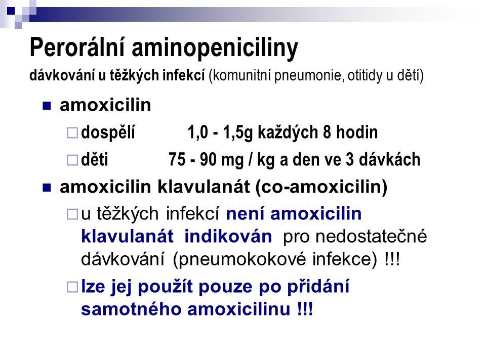 Perorální aminopeniciliny dávkování u těžkých infekcí (komunitní pneumonie, otitidy u dětí)  amoxicilin  dospělí1,0 - 1,5g každých 8 hodin  děti 75