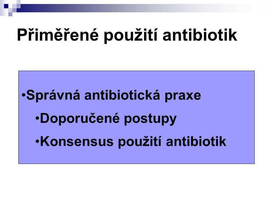 Dobrá antibiotická praxe  Všeobecné zásady správné preskripce/použití  Kvalita a výběr preskripce z hlediska skupin ATB  vliv na fyziologickou mikrobní floru  indukce tvorby ß-laktamáz  FK/FD  Výběr ATB z hlediska klinické dg:  infekce v primární péči nejčastější: infekce respirační, močové, kožní, posléze další a vzácně průjmová onemocnění
