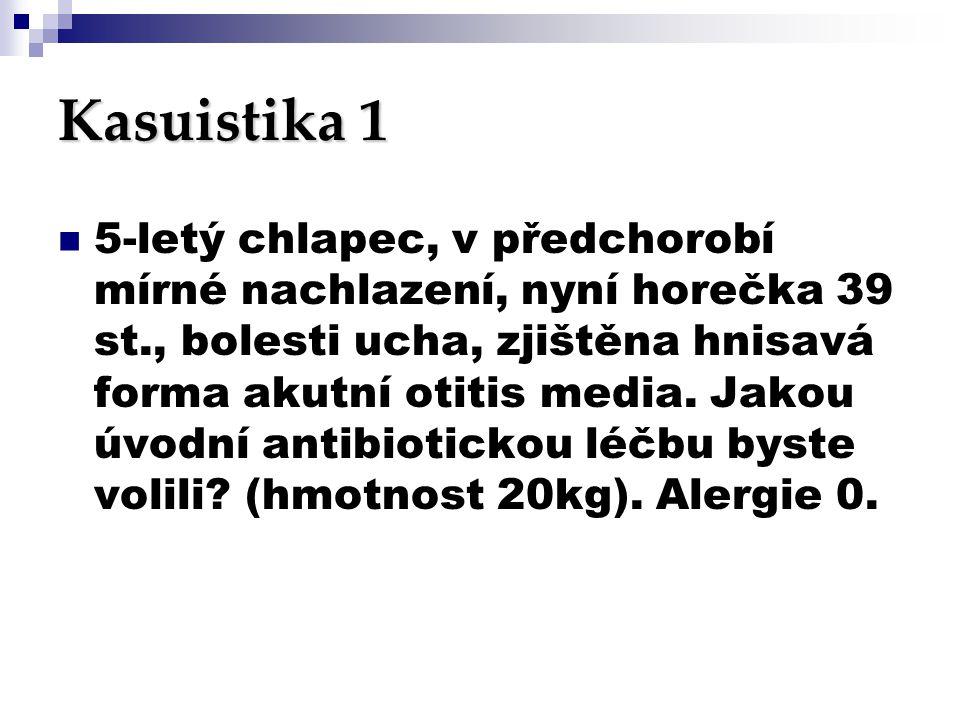 Kasuistika 1  5-letý chlapec, v předchorobí mírné nachlazení, nyní horečka 39 st., bolesti ucha, zjištěna hnisavá forma akutní otitis media. Jakou úv