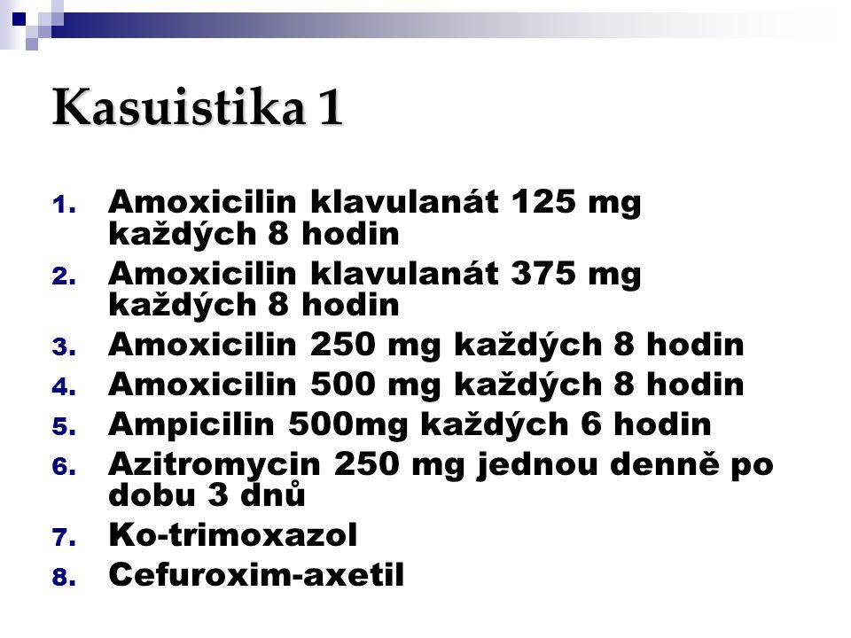Kasuistika 1 1. Amoxicilin klavulanát 125 mg každých 8 hodin 2. Amoxicilin klavulanát 375 mg každých 8 hodin 3. Amoxicilin 250 mg každých 8 hodin 4. A