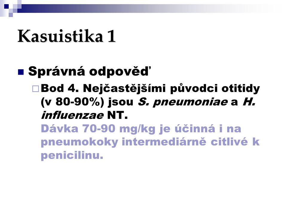 Kasuistika 1  Správná odpověď  Bod 4. Nejčastějšími původci otitidy (v 80-90%) jsou S. pneumoniae a H. influenzae NT. Dávka 70-90 mg/kg je účinná i